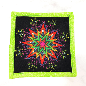 Mug rugs are also known as drink coasters.  These are made with a bright mandala design.  They are made from 100% cotton fabric, are insulated and washable too.  These are great accessories for your home office desk or for your coffee bar area, adding a splash of color and uniqueness.