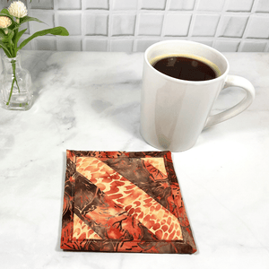 Peach Batik Quilted Mug Rug aka Drink Coaster for Home Office