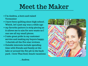 Learn more about Sew Happy Quilting and the crafter behind the company.  Andrea Scott sells fabric and unique quilted items.