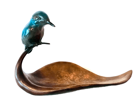 Bronze Kingfisher on Leaf by Sculptor Andrew Glasby
