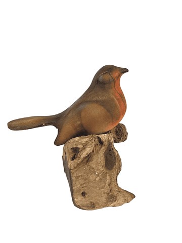 Stylised Hand carved Pine Robin