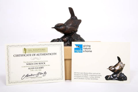 Bronze Life Size Wren on Rock Base by Sculptor Alan Glasby OBE GM - RSPB Donation Included - Open Edition