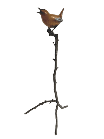 Bronze Singing Wren on Bronze twig