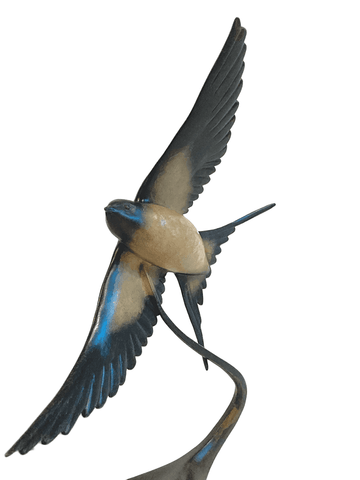 Bronze Barn Swallow in Flight by Sculptor Andrew Glasby