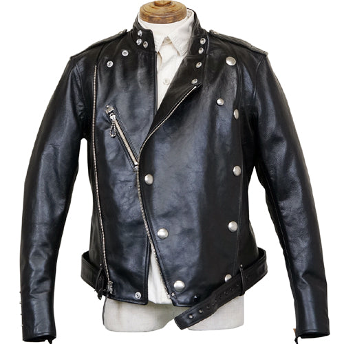FREEWHEELERS <BR>CENTINELA <BR>LEATHER TOGS <BR>SIZE:44 <BR>LATE 1930-1940s MOTORCYCLE JACKET <BR>DOUBLE BREASTED TYPE <BR>HORSE HIDE <BR>RUDE BLACK <BR>