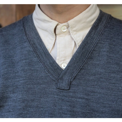 FREEWHEELERS V NECK SWEATER 1920 --1930s STYLE SWEATER WORSTED YARN HIGH GAUGE KNIT 2COLORS