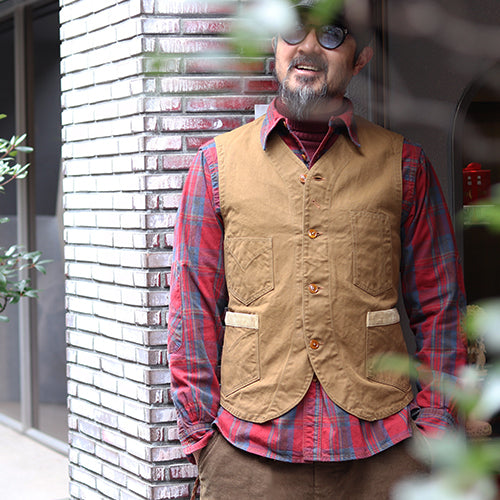 FREEWHEELERS CONDUCTOR VEST LATE 1800s STYLE WORK CLOTHING COTTON DUCK DRY FINISH RED BEIGE
