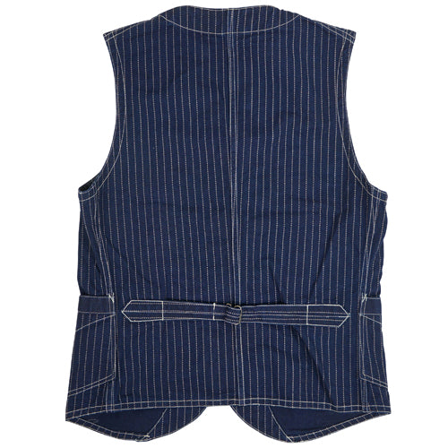 [PRE-ORDER] FREEWHEELERS CONDUCTOR VEST LATE 1800s STYLE WORK CLOTHING UNION SPECIAL OVERALLS INDIGO WABASH STRIPE