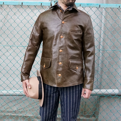 FREEWHEELERS <br>フリーホイーラーズ <br>JOURNEYMAN  WORK COAT <br>1920s - 1930s WORKMENT'S GARMENT <BR>HORSE HIDE <BR>OLIVE DRAB <BR>