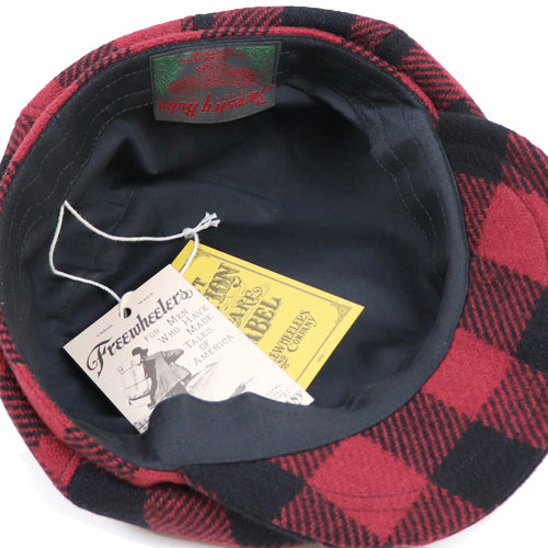 FREEWHEELERS LOGGER 8 PANELS CAP 1910 --1920s STYLE GREAT LAKES GMT. MFG.Co. wool BUFFALO CHECK RED x BLACK