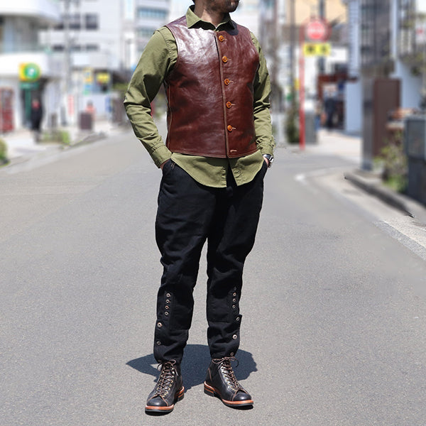 FREEWHEELERS <BR>フリーホイーラーズ <BR>JERKIN SHORT LENGTH <BR>1910s WWI U.S. CIVILIAN MILITARY STYLE <BR>HORSE HIDE <BR>TATANKA BROWN <BR>レザーベスト <BR>