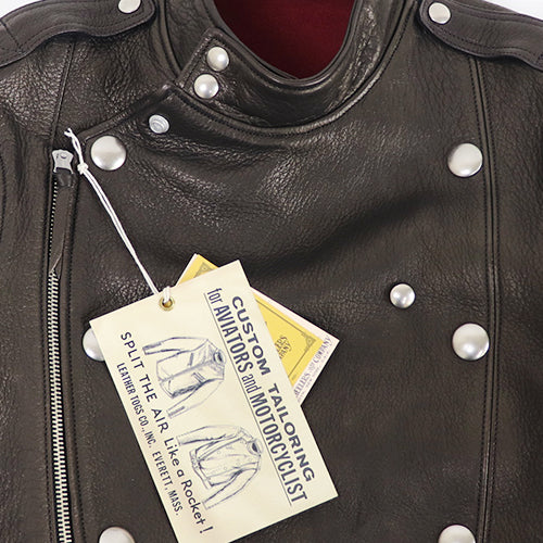 FREEWHEELERS CENTINELA SIZE: 36-42 LEATHER TOGS LATE 1930-1940s MOTORCYCLE JACKET DOUBLE BREASTED TYPE DEER SKIN JET BLACK