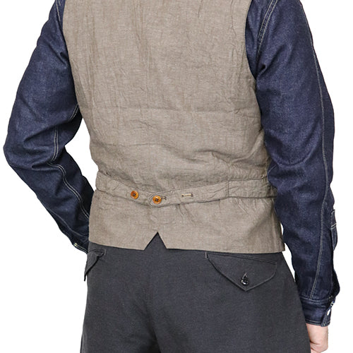 FREEWHEELERS <br>フリーホイーラーズ <br>COLUMBIA <BR>COLLARLESS VEST <BR>GREAT LAKES GMT. MFG.CO. <br>GRAINED BEIGE <br>