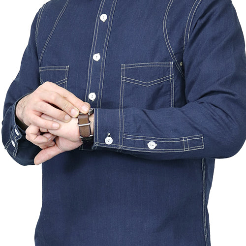 FREEWHEELERS <br>フリーホイーラーズ <br>STEEL DRIVER WORK SHIRT <BR>LATE 1890s STYLE WORK SHIRTS <BR>INDIGO CHAMBRAY <BR>