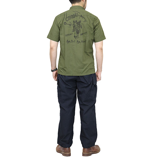 FREEWHEELERS <br>フリーホイーラーズ <br>U.S.M.C HOT RODDER <br>FLIGHT ENGINEER SHORT SLEEVE SHIRT <br>1930 - 1940s CIVILIAN MILITARY STYLE CLOTHING <BR>2 COLORS <BR>