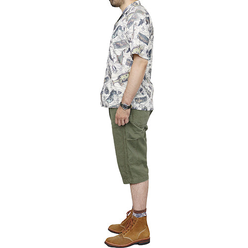 FREEWHEELERS <br>フリーホイーラーズ <br>ADVENTURE COLLECTION <br>SHORT SLEEVE OPEN NECKED SHIRT <br>ULTIMA THULE EQUIPMENT <br>ANCIENT MONSTERS PRINT <br>