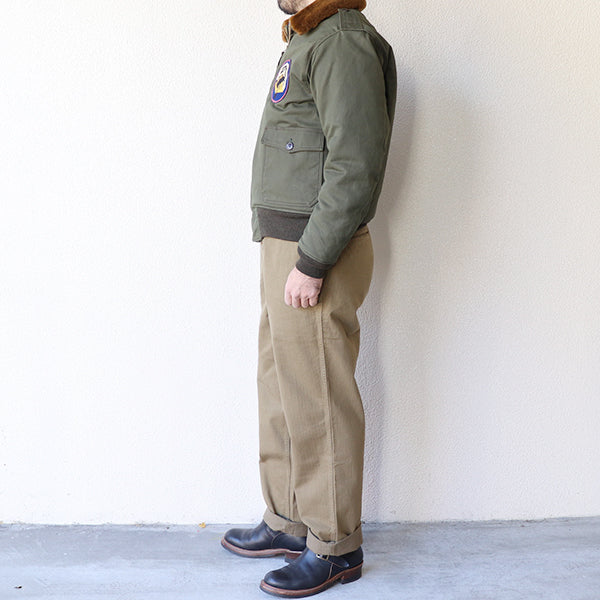 FREEWHEELERS <br>フリーホイーラーズ <br>LAKESCORPIONS <BR>TYPE B-10 CUSTOM MODEL <br>1940s CIVILIAN MILITARY STYLE CLOTHING <BR>COTTON CHINO DRILL <BR>DARK OLIVE <BR>