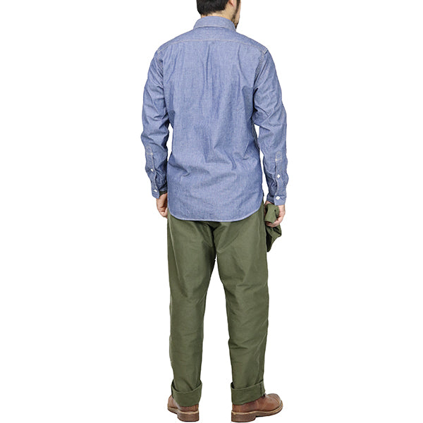 FREEWHEELERSFreewheelers ENGINEER SHIRT 1920 --1930s STYLE WORK SHIRTS 6oz INDIGO CHAMBRAY
