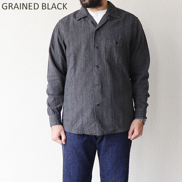 FREEWHEELERSFreewheelers JOHNNY OPEN COLLAR SHIRT 1950 --1960s SUBTERRANEANS STYLE SHIRT GRAINED OXFORD 2 COLORS