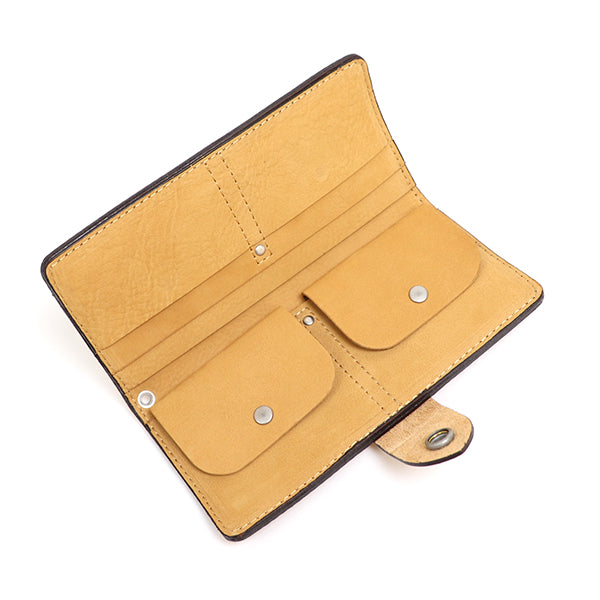 FREEWHEELERS <br>WALLET <BR>1920 - 1930s WOODSMAN WALLET <BR>BULL HIDE <BR>YELLOW OCHRE NUBUCK <BR>