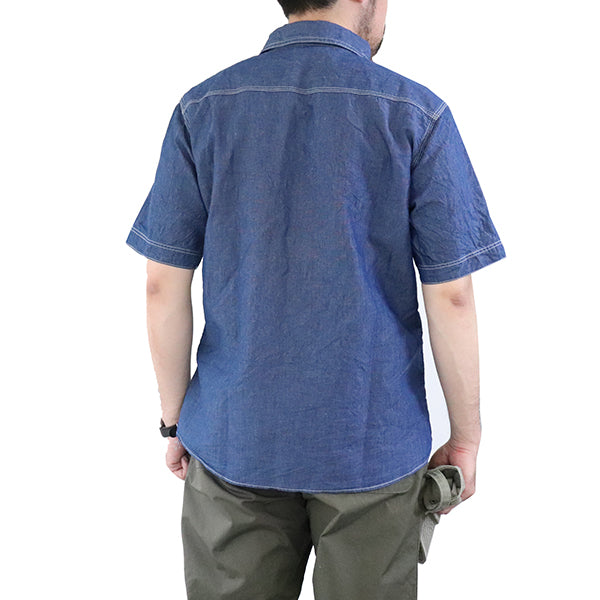 FREEWHEELERS <br>IRONALLS SHIRT SHORT SLEEVE <br>1920 - 1940s STYLE WORK SHIRT <br>7oz COTTON × LINEN CHAMBRAY <br>INDIGO <br>