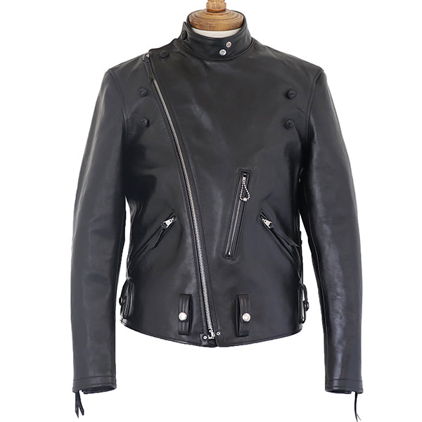 FREEWHEELERS <BR>SAN MATEO <BR>PETER'S TAILOR MADE <BR>1930s MOTORCYCLE JACKET <BR>DOUBLE BREASTED TYPE <BR>HORSE HIDE <BR>RUDE BLACK <BR>