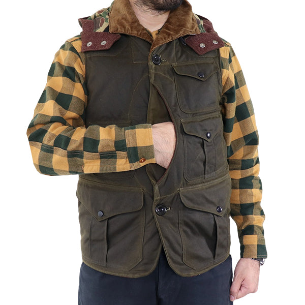 FREEWHEELERS <br>FOREST RANGER <BR>1920 - 1930s STYLE WOODSMAN SLEEVELESS COAT <BR>BRITISH MILLERAIN CO.LTD. <BR>TRADITIONAL WAXED FABRIC <BR>OLIVE DRAB <BR>