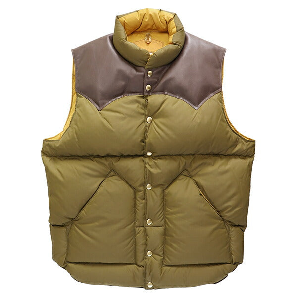 ROCKY MOUNTAIN FEATHERBED HERITAGE COLLECTION DOWN VEST OLIVE DRAB x BROWN MADE IN JAPAN