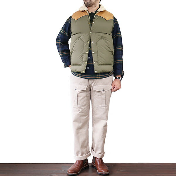 ROCKY MOUNTAIN FEATHERBED HERITAGE COLLECTION CHRISTY VEST OLIVE x LIGHT BROWN MADE IN JAPAN