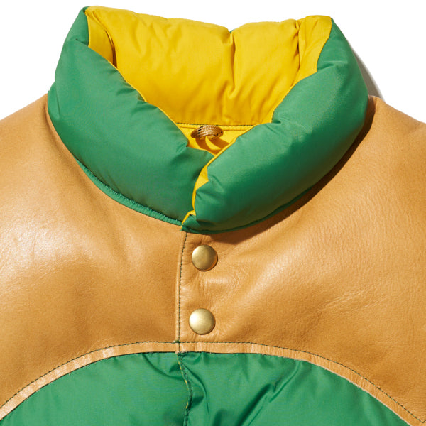 ROCKY MOUNTAIN FEATHERBED HERITAGE COLLECTION DOWN VEST KELLY GREEN x YELLOW MADE IN JAPAN