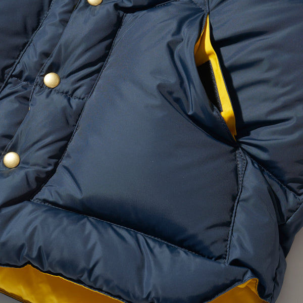 ROCKY MOUNTAIN FEATHERBED HERITAGE COLLECTION DOWN VEST NAVY x YELLOW MADE IN JAPAN