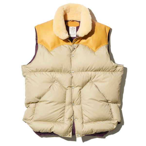 ROCKY MOUNTAIN FEATHERBED HERITAGE COLLECTION CHRISTY VEST LIGHT BEIGE x PLUM MADE IN JAPAN