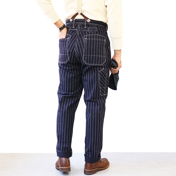 FREEWHEELERS <BR>フリーホイーラーズ <BR>GANDY DANCER OVERALLS <BR>LATE 1890s ~ STYLE WORK CLOTHING <BR>10.5oz DISCHARGE PRINTED TWILL <BR>NAVY CHAIN STRIPE <BR>