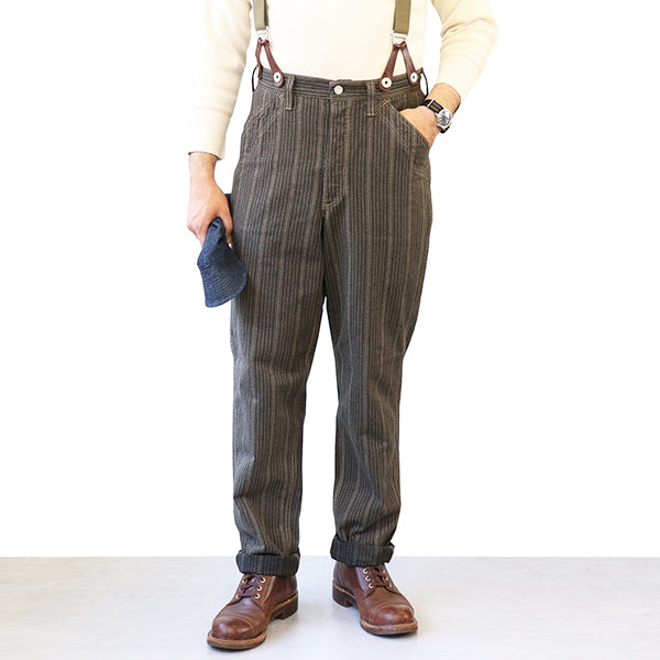 FREEWHEELERS GANDY DANCER OVERALLS LATE 1890s ~ STYLE WORK CLOTHING GRAINED STRIPE TWILL GRAINED DARK BROWN STRIPE