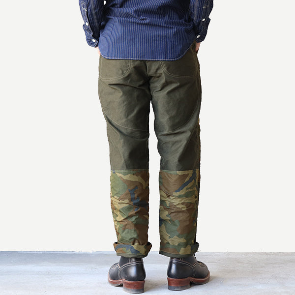 FREEWHEELERS HUDSON TROUSERS OUTDOOR STYLE HUNTING TROUSERS HEAVY WEIGHT FRENCH MOLESKIN × COTTON / NYLON WOODLAND CAMO FOREST GREEN × WOODLAND CAMO