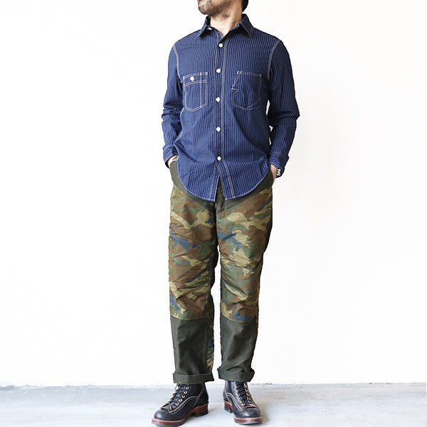 FREEWHEELERS  <br>IRONALLS SHIRT <BR>1920 - 1930s STYLE WORK SHIRT <BR>INDIGO WABASH STRIPE <BR>