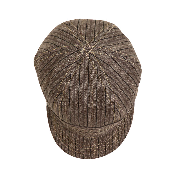 FREEWHEELERS <BR>フリーホイーラーズ <BR>GUTHRIE <BR>1890s ~ STYLE WORK CAP <BR>ORIGINAL GRAINED STRIPE TWILL <BR>GRAINED BROWN STRIPE <BR>