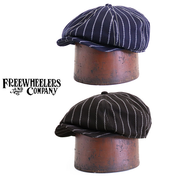 FREEWHEELERS <br>フリーホイーラーズ <br>HOG MASTER 8 PANELS CAP <BR>1890 ~ STYLE CASQUETTE <BR>10.5oz DISCHARGE PRINTED TWILL <br>2 COLORS <BR>