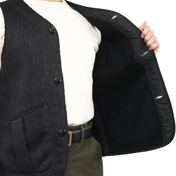 FREEWHEELERS DELAWARE OUTDOOR STYLE HUNTING VEST GREAT LAKES GMT. MFG.CO. CHARCOAL BLACK GRAIN