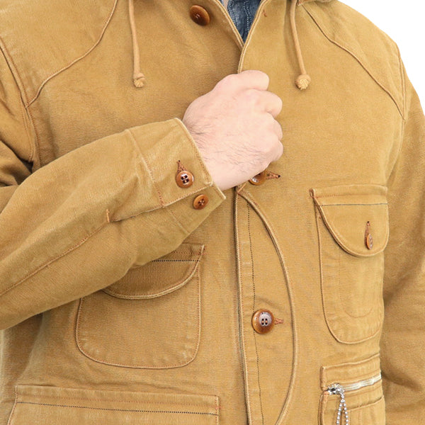 FREEWHEELERS TIMBER BEAST COAT 1920s WOODSMAN COAT GREAT LAKES GMT. MFG.CO. HEAVY COTTON DUCK YARN-DYED YELLOW BROWN
