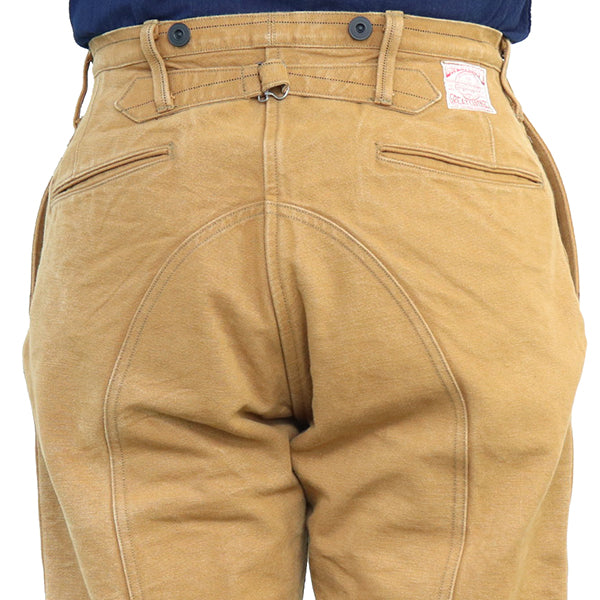 FREEWHEELERS TIMBER BEAST TROUSERS 1920s WOODSMAN TROUSERS GREAT LAKES GMT. MFG.CO. HEAVY COTTON DUCK YARN-DYED YELLOW BROWN