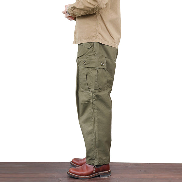 FREEWHEELERS JUNGLE FATIGUES (SIZE: W30-W36) 1960s CIVILIAN MILITARY STYLE CLOTHING SULFIDE DYED MILITARY BACK SATIN 2 COLORS