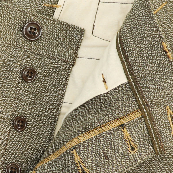 FREEWHEELERS CONSTRUCTION WORKER TROUSERS 1920s --1930s STYLE WORK CLOTHING TWIST YARN SELVAGE CANVAS MOTTLED BROWN
