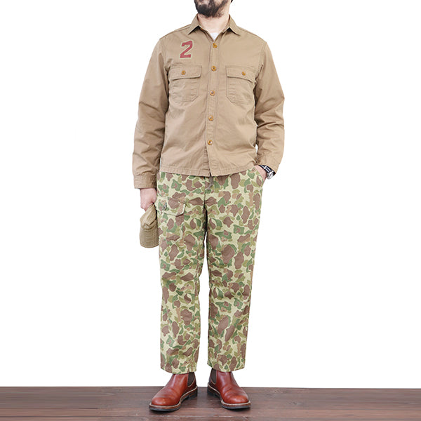 FREEWHEELERS ARMY UTILITY SHIRT 2WHEELS SQUAD 1940s CIVILIAN MILITARY CLOTHING WEATHER PARAFFIN SAND BEIGE