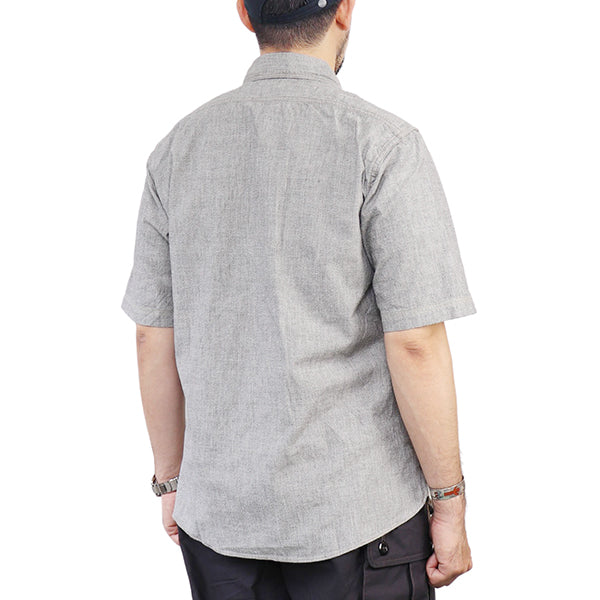 FREEWHEELERS HEAD MAN CUT-SLEEVE SHIRT 1920-1930s STYLE WORK CLOTHING TRANSFORMED in 50s VINTAGE STYLE GRAINED CHAMBRAY 2 COLORS