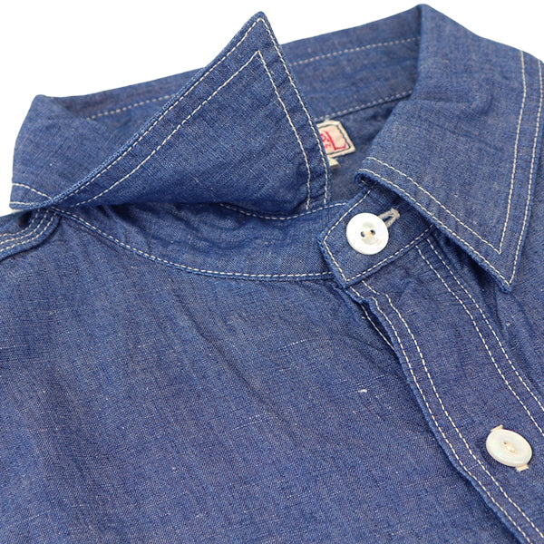 FREEWHEELERS FOREMAN SHIRT 1920 --1930s STYLE WORK CLOTHING VINTAGE STYLE 7oz COTTON LINEN CHAMBRAY 2 COLORS