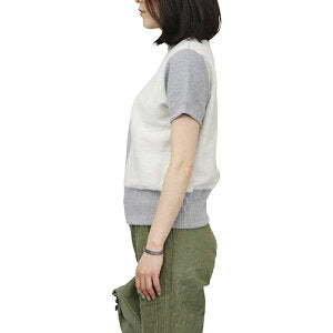 NIGEL CABOURN WOMAN ARMY CREW JERSEY MIX SHORT SLEEVE GRAY MAIN LINE