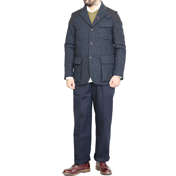 NIGEL CABOURNNigel Cabourn MALLORY JACKET HARRIS TWEED x VENTILE BLUE CHECK AUTHENTIC LINE