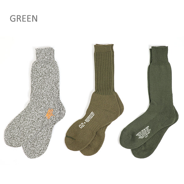 NIGEL CABOURNNigel Cabourn 3 PACK ARMY SOCKS 3 COLORS MADE IN JAPAN