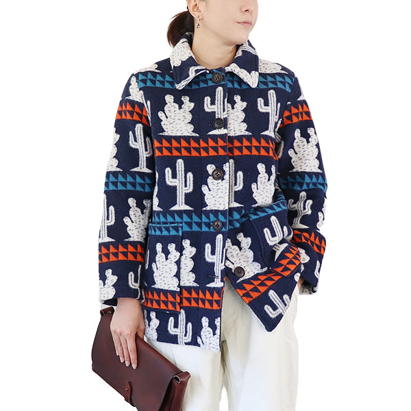 NIGEL CABOURN WOMANNigel Cabourn Woman CACTUS DONKEY JACKET JACQUARD HEAVY WOVEN wool DARK NAVY AUTHENTIC LINE